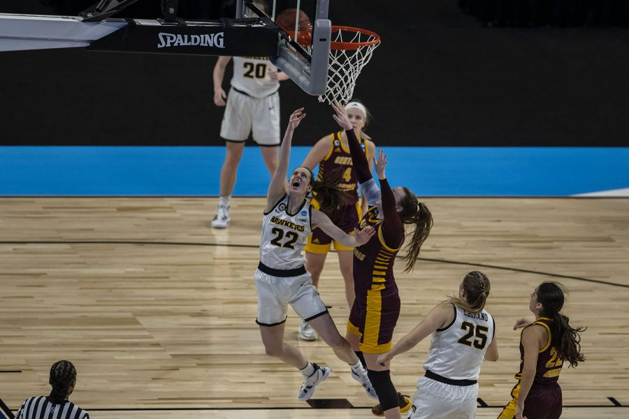 Iowa guard Caitlin Clark goes for a layup during the first round of the NCAA women's basketball championship against Central Michigan on Sunday, March 21, 2021 at the Alamodome in San Antonio, TX. The Hawkeyes defeated the Chippewas, 87-72. No. 5 Iowa will go on to play the winner of the 1 PM game between No. 4 Kentucky and No. 13 Idaho State on Tuesday during the second round.