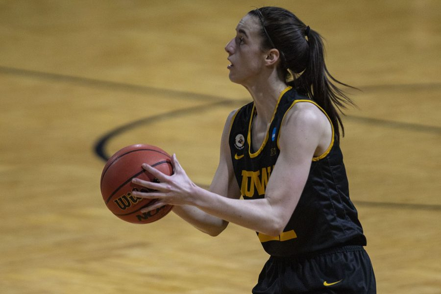 Iowa+guard+Caitlin+Clark+prepares+to+shoot+a+3-pointer+during+the+second+round+of+the+NCAA+womens+basketball+championship+against+No.+4+Kentucky+on+March+23%2C+2021+at+the+Bill+Greehey+Arena+at+Saint+Marys+University+in+San+Antonio%2C+Texas.+The+Hawkeyes+defeated+the+Wildcats%2C+86-72.+