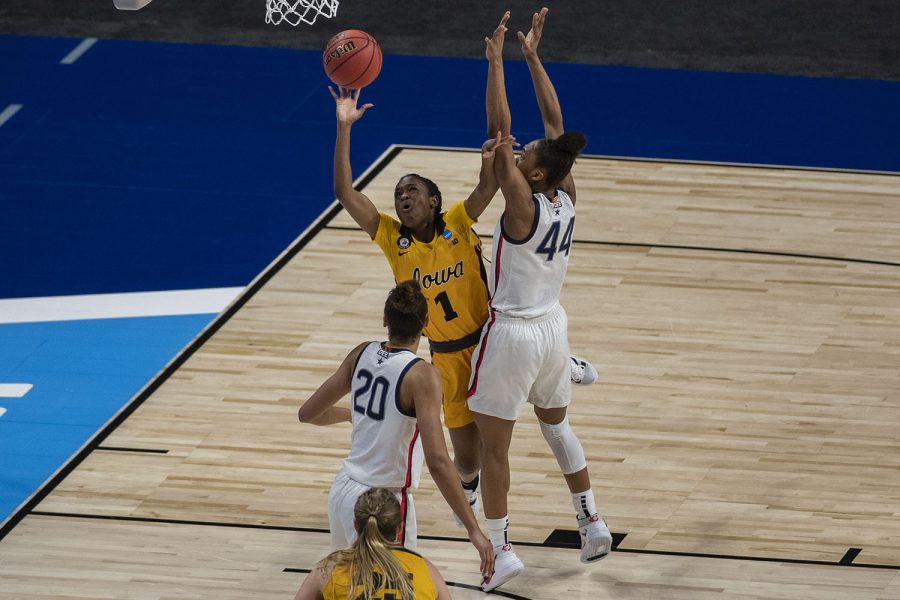 Iowa guard Tomi Taiwo attempts to shoot a basket during the Sweet Sixteen NCAA women