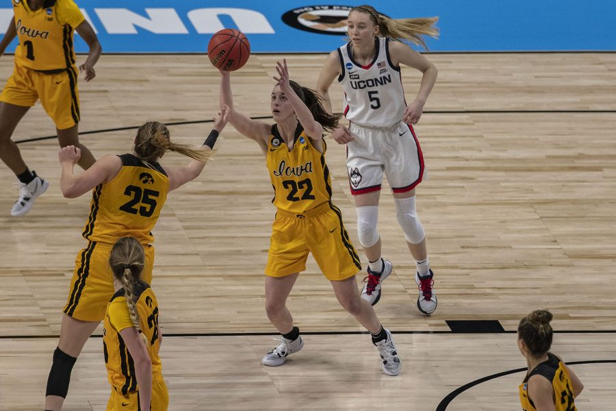 Iowa+guard+Caitlin+Clark+reaches+for+a+pass+during+the+first+quarter+of+the+Sweet+Sixteen+NCAA+women%27s+basketball+championship+against+No.+1+UConn+on+Saturday%2C+March+27%2C+2021+at+the+Alamodome+in+San+Antonio%2C+Texas.+The+Hawkeyes+are+trailing+behind+the+Huskies%2C+49-35+at+halftime.