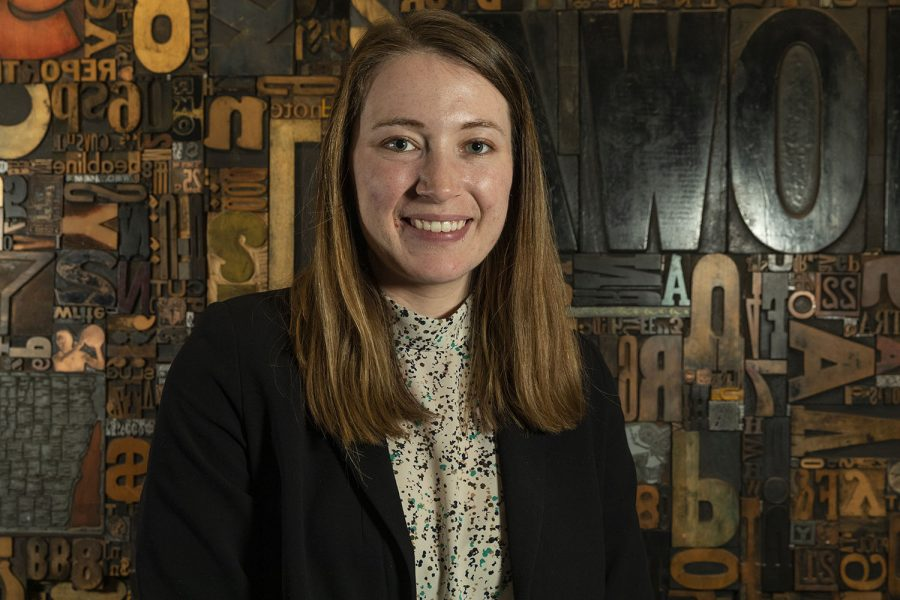 Daily Iowan Managing Editor Sarah Watson poses for a portrait inside Adler Journalism Building on March 3, 2020, the day she was selected as the next year's executive editor. Two weeks later, staffers would clear out their desks and produce a paper remotely.