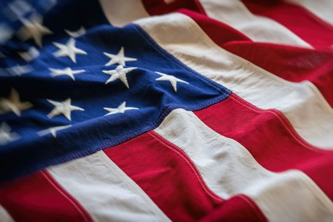 USA flag detail, closeup view. American flag background texture.