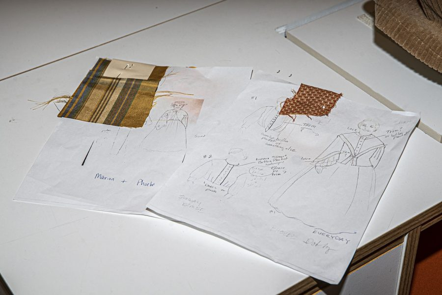 A sketch of costumes for the Theatre Department's production of Before the Park is seen in the University of Iowa Costume Shop in the Old Museum of Art on Thursday, February 25th, 2021. Due to pandemic regulations, before the Park will be streamed digitally as opposed to playing for live audiences. (Tate Hildyard/The Daily Iowan)