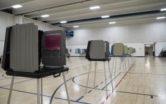Polling booths at the Robert A. Lee Community Recreation Center in Iowa City on Tuesday, Nov. 03, 2020. Few voters came as the evening approached 7:00 PM.