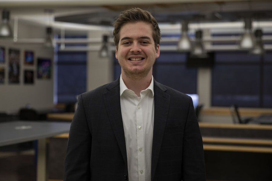 Daily Iowan Managing Editor Caleb McCullough poses for a portrait on Sunday, March 7, 2021 at the DI newsroom.