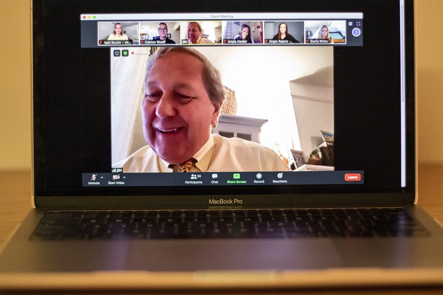 University of Iowa President Bruce Harreld addresses members of UISG virtually at the first University of Iowa Student Government Meeting on Tuesday, August 25, 2020.
