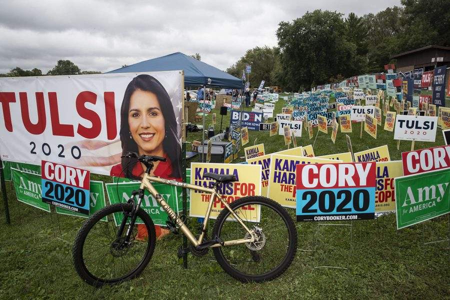 Signs+sit+outside+the+Polk+County+Steak+Fry+in+Des+Moines+on+Saturday+Sept.+21%2C+2019.+17+democratic+candidates+gave+speeches+and+grilled+steaks.