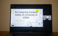 University of Iowa Faculty Senate President, Joseph Yockey, speaks during the University of Iowa Faculty Senate meeting over Zoom on Tuesday, March 23.