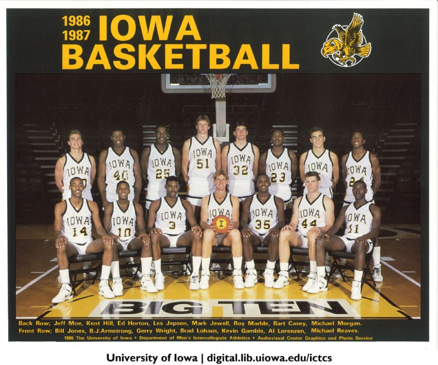 Former Iowa basketball player Michael Reaves (11) sits for a team photo in 1986. (Contributed by Iowa Digital Archives)