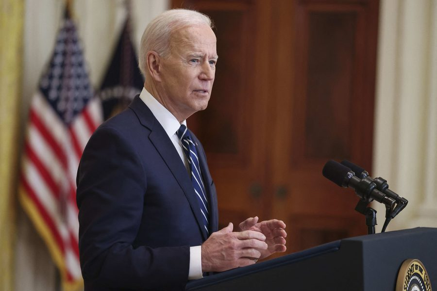 President Joe Biden speaks during the first formal press conference of his presidency in the East Room of the White House on Thursday, March 25, 2021, in Washington, D.C.