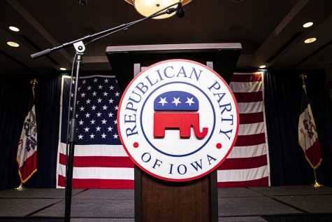 The official podium of the of the Joni Ernst Republican watch party is seen at the Des Moins Marriott Downtown on Tuesday, November 3rd, 2020 . Republicans from across the state have gathered to watch the results of the 2020 General Election.