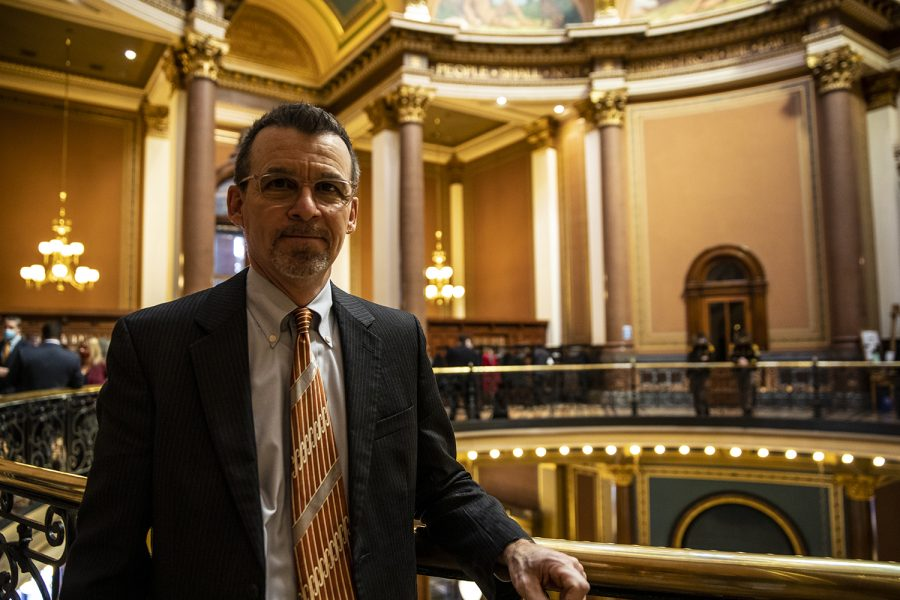 Iowa Sen. Joe Bolkcom poses for a portrait inside the Iowa State Capitol on Tuesday, Jan. 12, 2021 in Des Moines. Bolkcom represents the 43rd district in Johnson county.