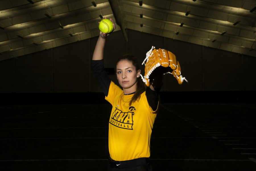 Pitcher Allison Doocy (3) poses for a portrait during Softball Media Day at the Hawkeye Tennis and Recreation Complex on Friday, February 1, 2019.