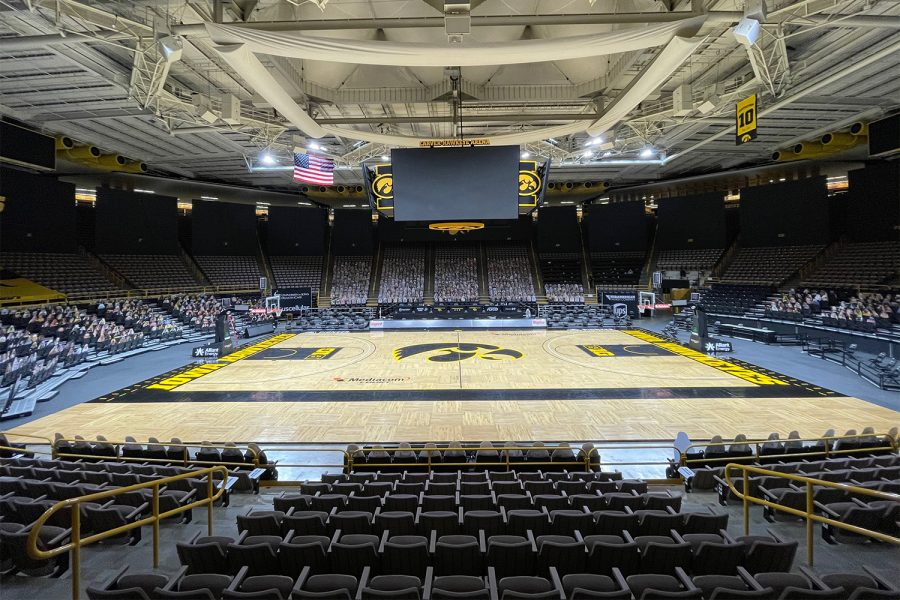 Carver-Hawkeye Arena is seen empty after a men's basketball game on Dec. 22, 2020.