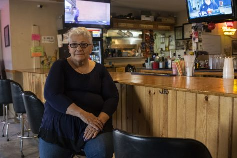 Janelle Lutgen poses for a portrait at Jimi B's Bar and Grill in Bernard on March 14, 2021. Lutgen's son Jesse died after financial struggle forced him to ration insulin. Now Lutgen works to provide free insulin to all.