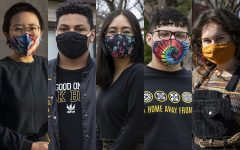 In this diptych University of Iowa students (from left) Sydney Nguyen, Michael Warner-Craft, Michelle Tran-Duong, Joseph Villalobos, and Whitney Martinez pose for portraits. (Katie Goodale/The Daily Iowan)