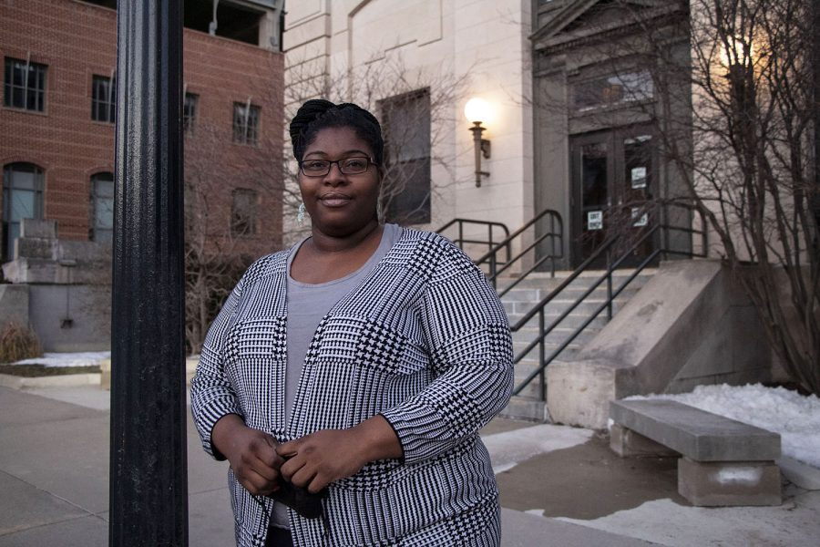 Senior+Center+Coordinator%2C+LaTasha+DeLoach%2C+poses+for+a+portrait+outside+of+The+Center+Senior+Center+in+Iowa+City+on+Monday+March+1%2C+2021.+DeLoach+coordinated+an+outreach+phone+bank+at+the+Senior+Center+where+they+schedule+vaccine+appointments+for+older+community+members.+