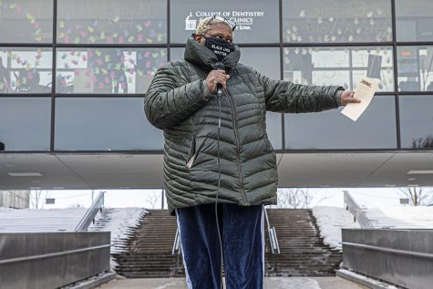 Johnson County Supervisor Royceann Porter speaks at a protest outside The College Dentistry on Friday, January 29th, 2020. University students from the dental college marched to the College of Dentistry to protest unaddressed issues regarding the treatment of minority students.