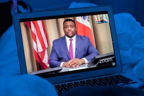 Iowa City's mayor Bruce Teague holds the online Iowa City City Council Meeting, broadcasted live on Youtube, on Tuesday, February 16, 2021. The meeting covered many topics, ranging from transit updates to police budgeting.
