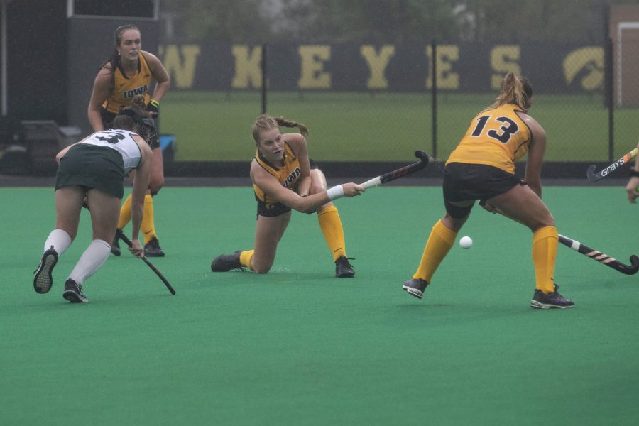 Iowa midfielder Lokke Stribos aims for the goal during a field hockey game against Michigan State at Grant Field on Sunday, September 29, 2019. Stribos scored one of 5 goals for the Hawkeyes. The Hawkeyes defeated the Spartans 5-0.