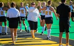 Iowa head coach Lisa Cellucci celebrates a win during a field hockey match between Iowa and California on Friday, September 13, 2019. The Hawkeyes defeated the Bears, 4-2.