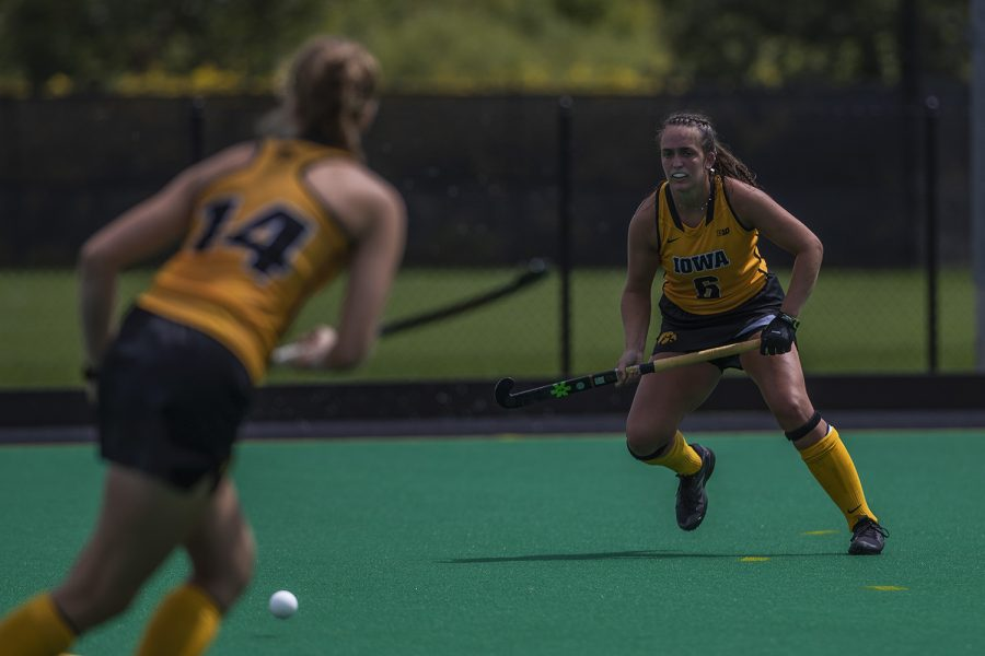 Iowa defender Lokke Stribos passes the ball to defender Anthe Nijziel during an exhibition game against Northwestern at Grant Field on Saturday, August 24, 2019. The Hawkeyes defeated the Wildcats 3-2.