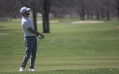 Gonzalo Leal watches the ball after driving it during a golf invitational at Finkbine Golf Course on Saturday, April 20, 2019. Iowa came in first with a score of 593 against 12 other teams.