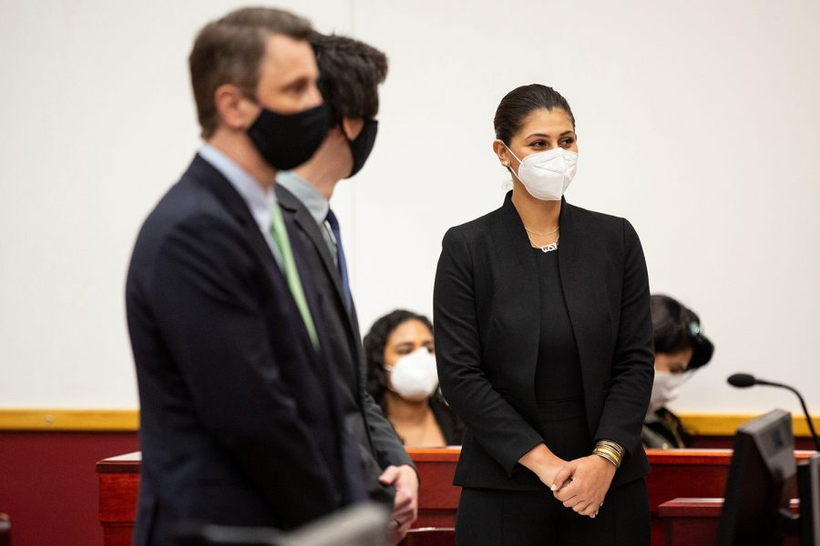 Des Moines Register Reporter Andrea Sahouri learns she's been found not guilty at the conclusion of her trial, on Wednesday, March 10, 2021, at the Drake University Legal Clinic, in Des Moines, Iowa.