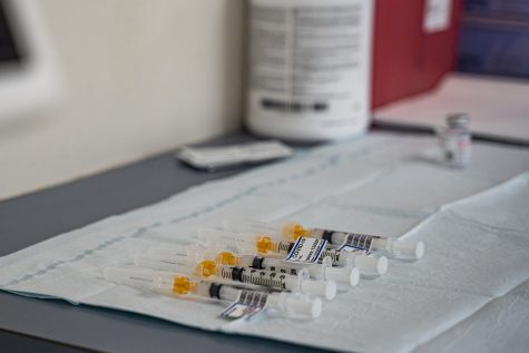 Syringes for the COVID-19 vaccine lay on a counter at the VA Medical Center in Iowa City on Tuesday, Dec. 22, 2020. The center received the Modern vaccine for its employees.