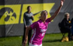 Iowa defender Samantha Cary runs up on a corner kick during the Iowa versus Ohio State game at the University of Iowa Soccer Complex on Sunday, October 27, 2019. The Hawkeyes defeated the Buckeyes 2-1 in double overtime.