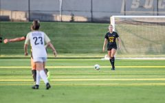 Iowa defender Sara Wheaton surveys the field during a women's soccer match between Iowa and Western Michigan on Thursday, August 22, 2019. The Hawkeyes defeated the Broncos, 2-0.