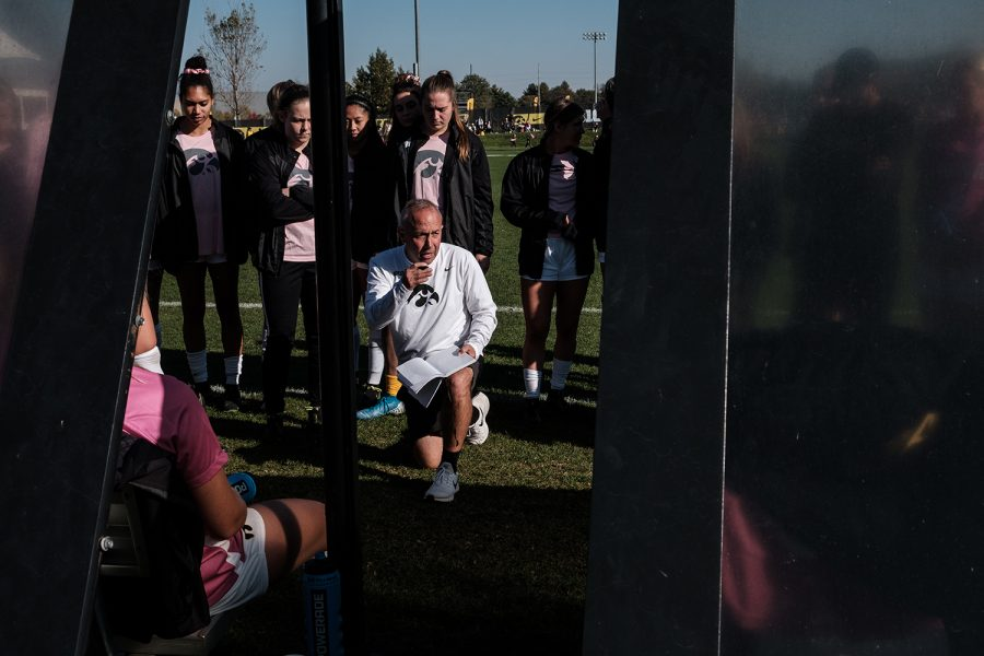 Iowa Head Coach Dave Diianni speaks to the team during the Iowa versus Ohio State game at the University of Iowa Soccer Complex on Sunday, October 27, 2019. The Hawkeyes defeated the Buckeyes 2-1 in double overtime.