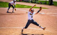 Iowa pitcher Sarah Lehman winds up for a pitch during a softball game between Iowa and Ohio State at Bob Pearl Field on Sunday, May 5, 2019. The Hawkeyes, celebrating senior day, fell to the Buckeyes, 5-0.