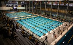 Competition is underway during a swim meet at the Campus Recreation and Wellness Center on Saturday, Jan. 16, 2021. The women's team hosted Nebraska while the men's team had an intrasquad scrimmage.