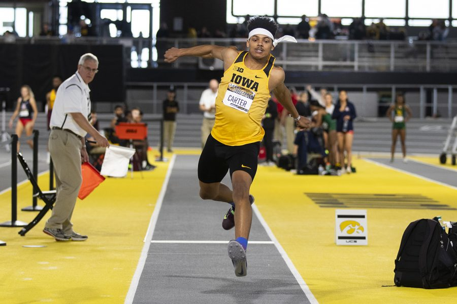 Iowa jumper James Carter competes in the men's triple jump during the fourth annual Larry Wieczorek Invitational at the University of Iowa Recreation Building on Saturday, Jan 18, 2020.