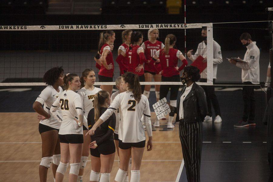 Iowa head coach Vicki Brown talks to players from the sidelines during the Iowa vs Rutgers match at Xtream Arena on Feb. 19, 2021. Iowa defeated the Rutgers 3-1.