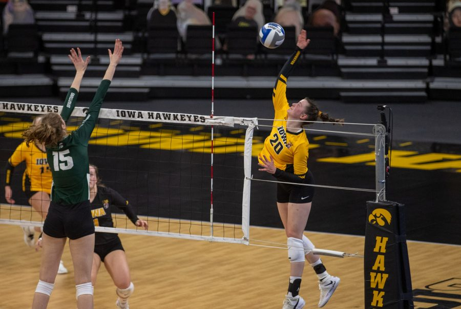 Iowa outside hitter Edina Schmidt gets a point during a volleyball match between Iowa and Michigan State at Carver-Hawkeye Arena on Saturday, March 27, 2021. The Hawkeyes defeated the Spartans 3-0.