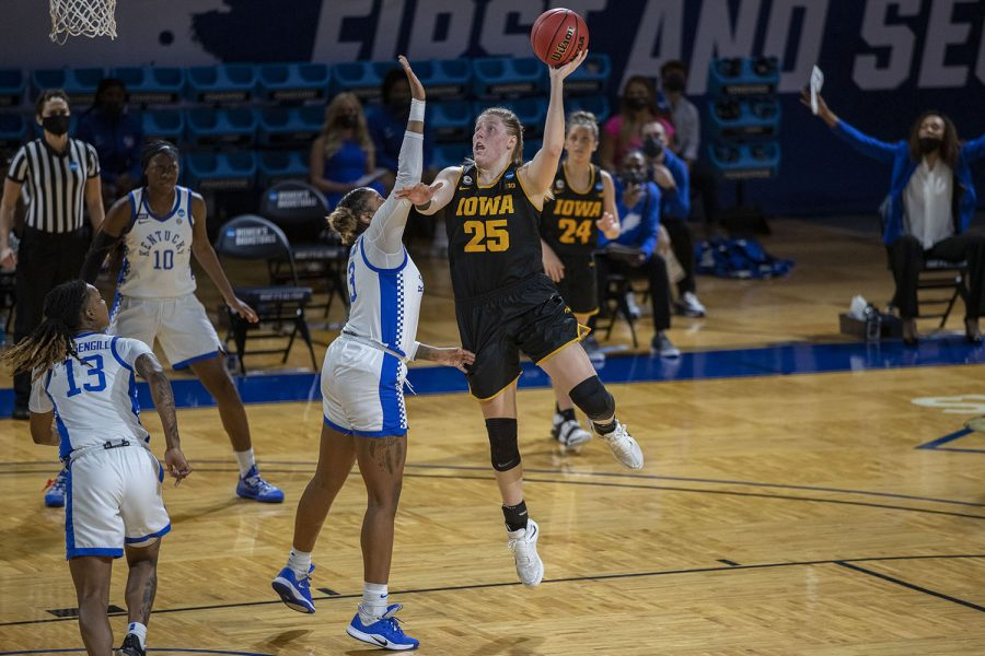 Iowa+center+Monika+Czinano+shoots+a+basket+during+the+first+half+of+the+second+round+of+the+NCAA+women%27s+basketball+championship+against+Kentucky+on+Tuesday%2C+March+23%2C+2021+at+the+Bill+Greehey+Arena+at+Saint+Mary%27s+University+in+San+Antonio%2C+TX.+The+Hawkeyes+are+leading+the+Wildcats%2C+49-22+at+halftime.