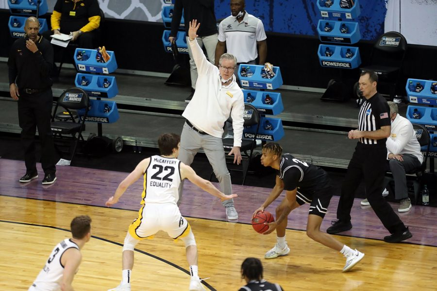 March 20, 2021; Indianapolis, IN, USA; Iowa Hawkeyes head coach Fran McCaffery watches Grand Canyon Antelopes guard Chance McMillian (2) control the ball in the first half during the first round of the 2021 NCAA Tournament on Saturday, March 20, 2021, at Indiana Farmers Coliseum in Indianapolis, Ind.