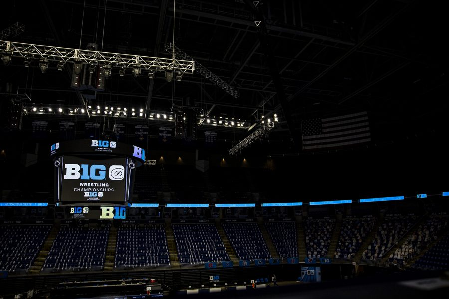 The stadium sits empty in between session at the Big Ten Wrestling Tournament at the Bryce Jordan Center in State College, PA on Saturday, March 6, 2021. The Hawkeyes ended the Semifinals  with a team score of 126.5, putting them in first place ahead of Penn State with a score of 111.5.