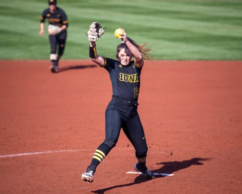 Iowa pitcher Lauren Shaw winds up to throw during a softball game between Iowa and Indiana at Pearl Field on Saturday, April 3, 2021. Shaw went six complete innings but  could not finish the seventh. The Hawkeyes defeated the Hoosiers 1-0.