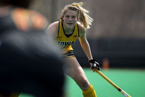 Iowa midfielder Ellie Holley waits for Maryland to pass the ball during the first quarter of a field hockey game between Iowa and Maryland on Sunday, April 4, 2021 at Grant Field. The Hawkeyes defeated the Terrapins, 3-0.