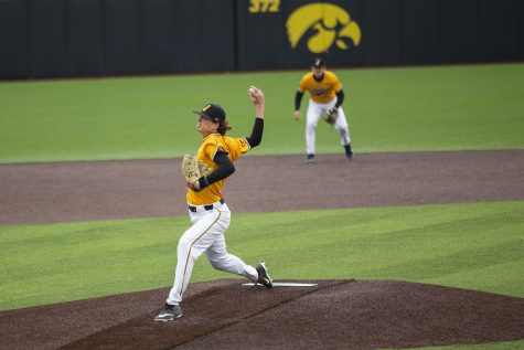Iowa pitcher, Drew Irvine, pitches the ball during the Iowa baseball game v. Minnesota at the Duane Banks Field in Iowa City on April 11, 2021.