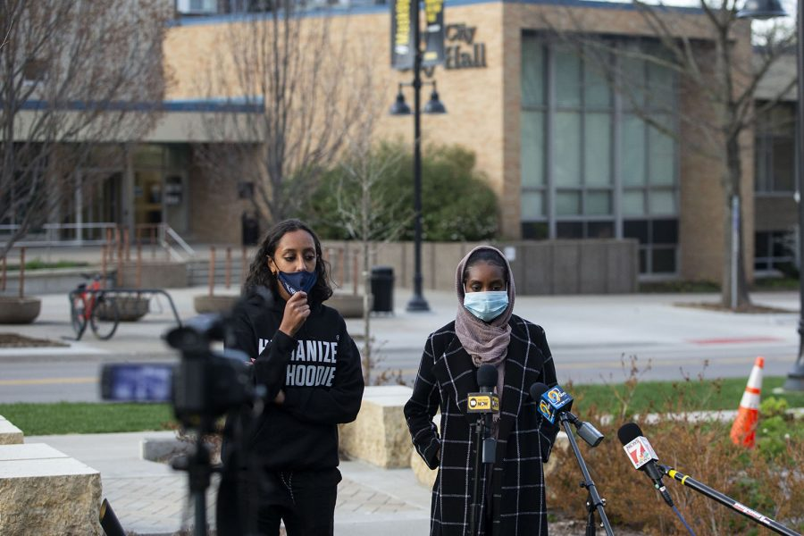 Iowa Freedom Riders members, Raneem Hamad (left) and Ala Mohamed (right), speak to the press before the Peoples Truth and Reckoning Commission meeting at the Chauncey Swan Park in Iowa City on Thursday, April 15, 2021.