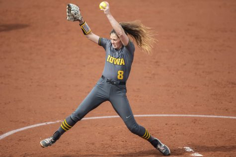 Iowa pitcher, Lauren Shaw, pitches the ball during the Iowa softball game v. Northwestern at Pearl Field on Friday, April 16, 2021. The Wildcats defeated the Hawkeyes with a score of 7-0.