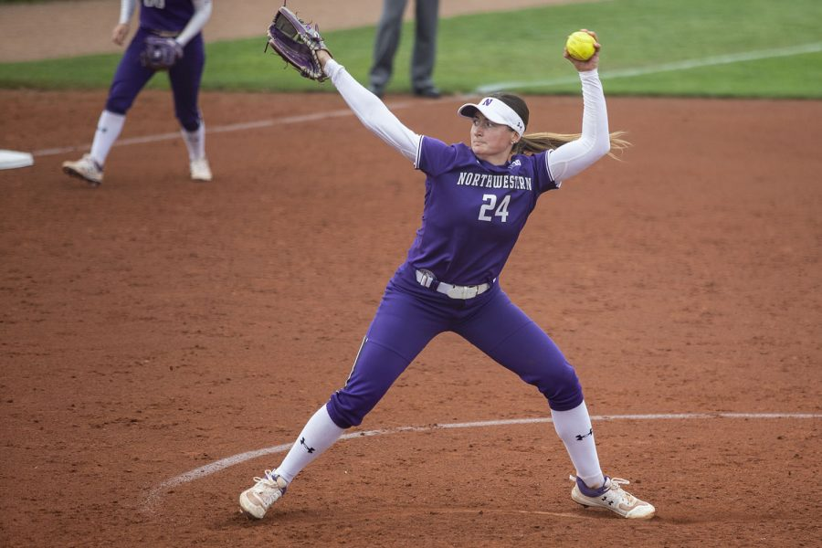 Northwestern pitcher, Danielle Williams, pitches the ball during the Iowa softball game v. Northwestern at Pearl Field on Friday, April 16, 2021. The Wildcats defeated the Hawkeyes with a score of 7-0.