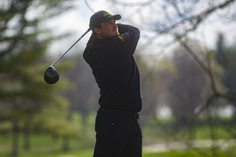 Iowas Alex Schaake drives the ball during the mens golf Hawkeye Invitational on Saturday, April 17, 2021 at Finkbine Golf Course.