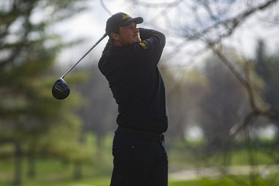 Iowa's Alex Schaake drives the ball during the men's golf Hawkeye Invitational on Saturday, April 17, 2021 at Finkbine Golf Course.