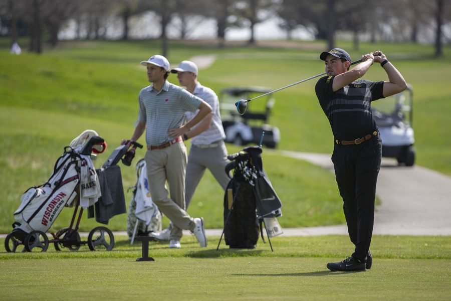 Iowas Mac McClear drives the ball during the mens golf Hawkeye Invitational on Saturday, April 17, 2021 at Finkbine Golf Course.