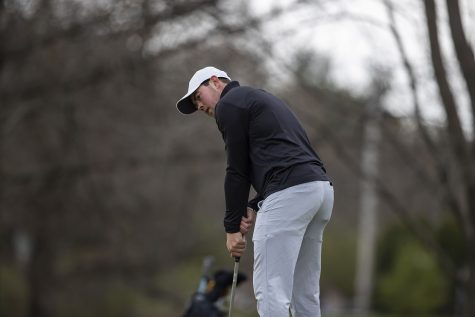 Iowa's Mac McClear looks to the hole during the third round of the Hawkeye Invitational at Finkbine Golf Course on Sunday, April 18, 2021. Iowa won the invitational 24 under par. McClear finished second overall 10 under par.